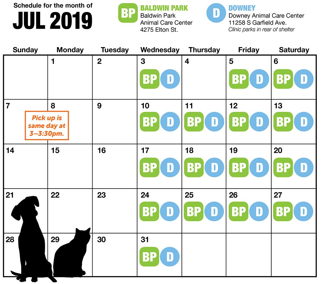 July LA spay and neuter calendar