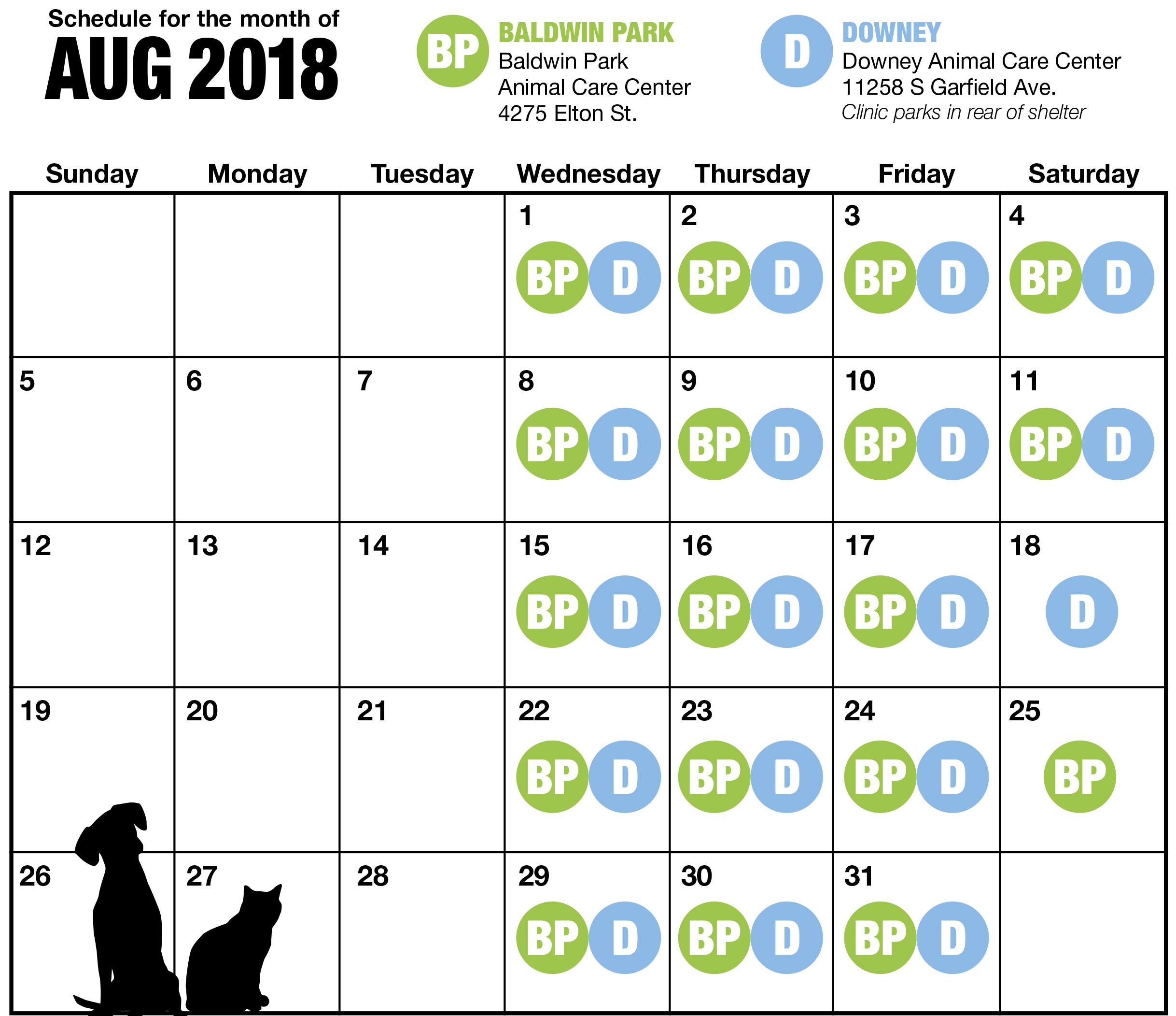 LA August Spay and Neuter Calendar