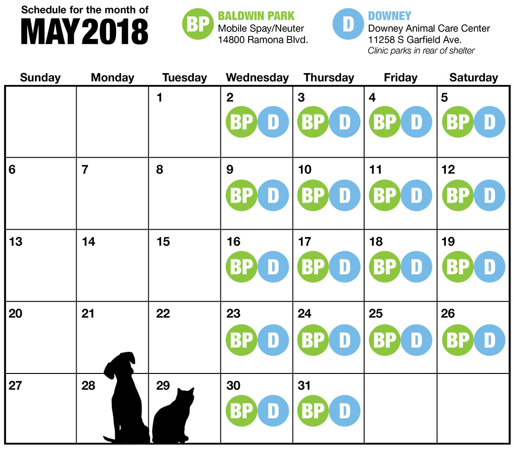 May LA Spay and Neuter Calendar