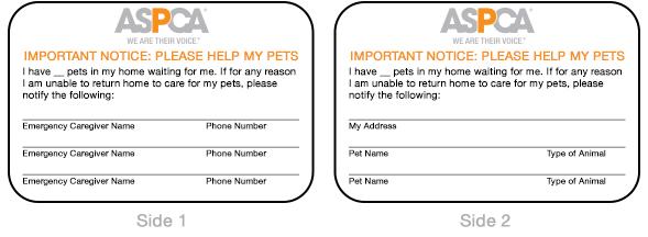 ASPCA Pet Alert Card