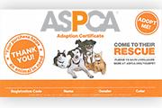 ASPCA Plush Toy Certificate