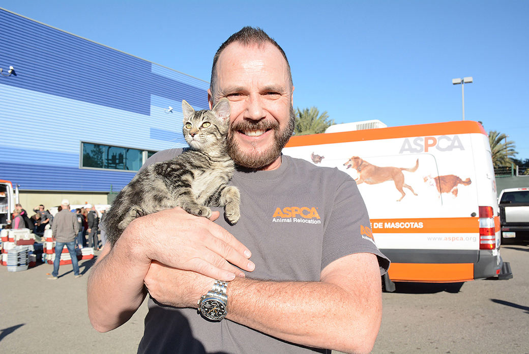 Lance from the ASPCA with a cat