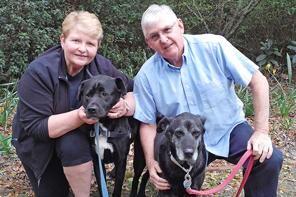 Older couple poses with two dogs