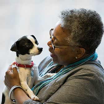 a woman holding a small brown and white dog