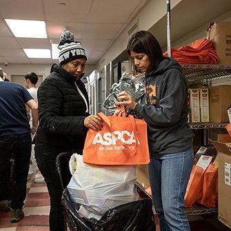 aspca volunteer at the food bank