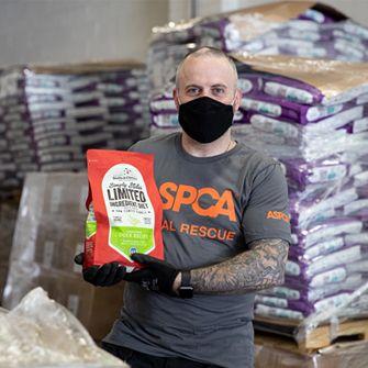 Man with pet food