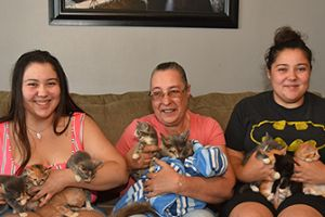 Christina, Amanda, their mother with Azalea and her kittens