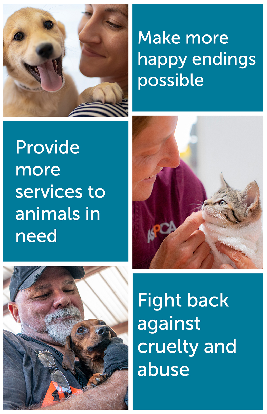 Thanks to the commitment of Subaru to animals, we're able to: