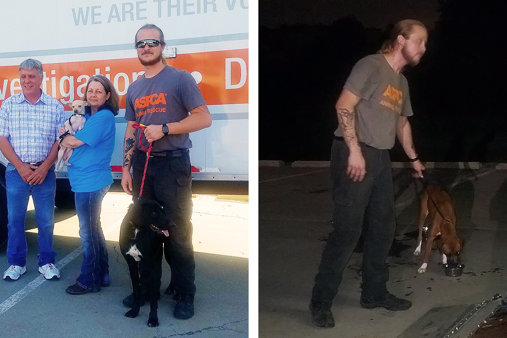 Left: Travis H. and volunteers next to the ASPCA transport vehicle. Right: A late-night walk after arriving at Mississippi Animal Rescue.