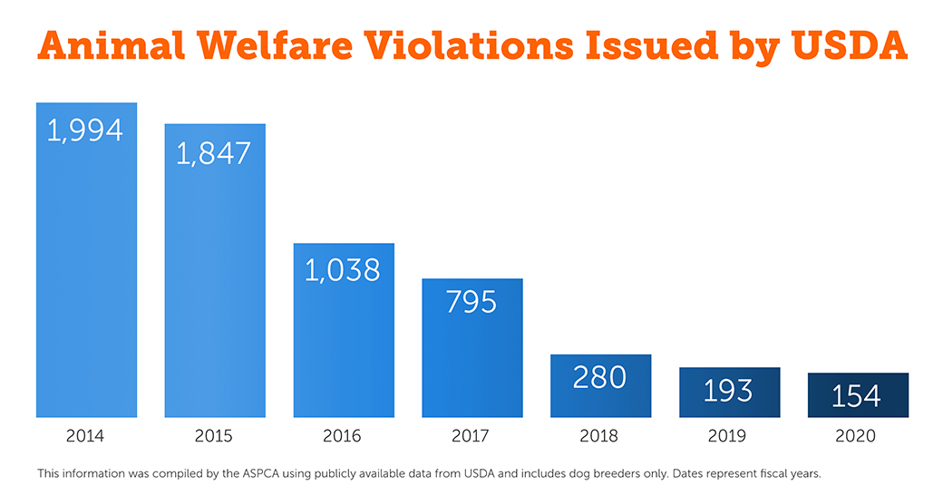 Animal Welfare Violations Issued by USDA graph