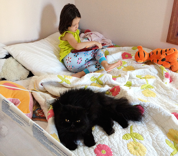 Young girl sitting on bed next to pet cat